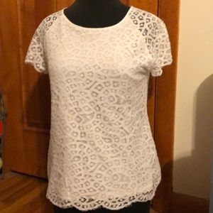 White Short-sleeve Lace Top M